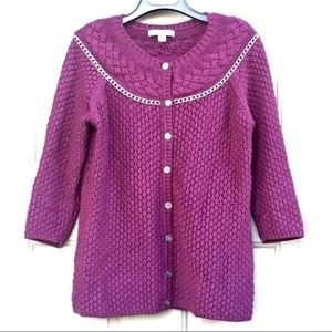 LIZ CLAIBORNE PURPLE CROCHET KNIT CHAIN CARDIGAN